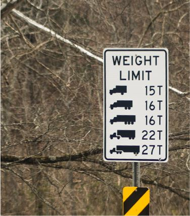 Street sign stating the weight limit for that road